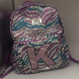 Justice backpack pink aqua sequins with hoodie-K